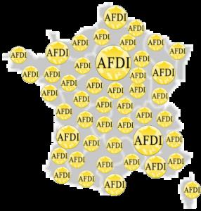 Carte de france avec des logos AFDI par secteur